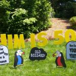 "These over the hill themed tombstones will certainly make them laugh!  Includes 8 tombstones with funny over the hill themed quotes and 4 buzzards.  Personalized message spelled out in 23"" tall yellow lawn letters!"