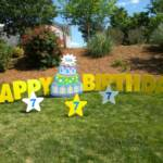 "Adorable 4 feet tall cake will be a huge surprise!  Package includes ""Happy Birthday"" message in large yellow letters, name on top of cake, and 3 optional stars with age."