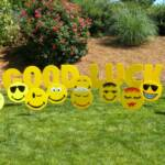 Each smiley face is unique!  Great for any occasion!  Sign rental includes 12 smiley faces and personalized message.